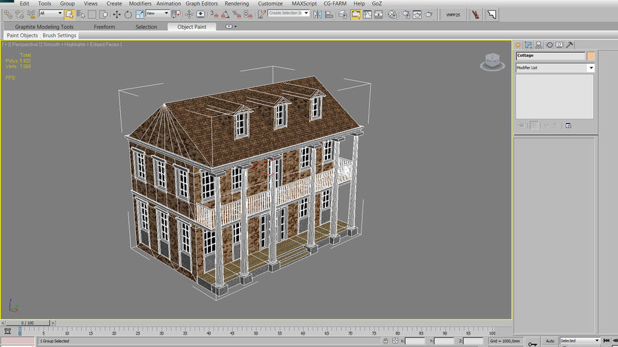 Cottage House royalty-free 3d model - Preview no. 14