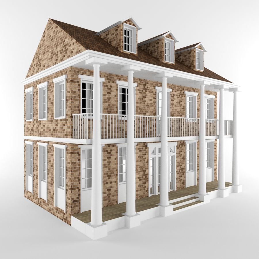 Cottage House royalty-free 3d model - Preview no. 2