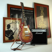 Electric guitar Gibson Les Paul and amplifier Marshall 3d model