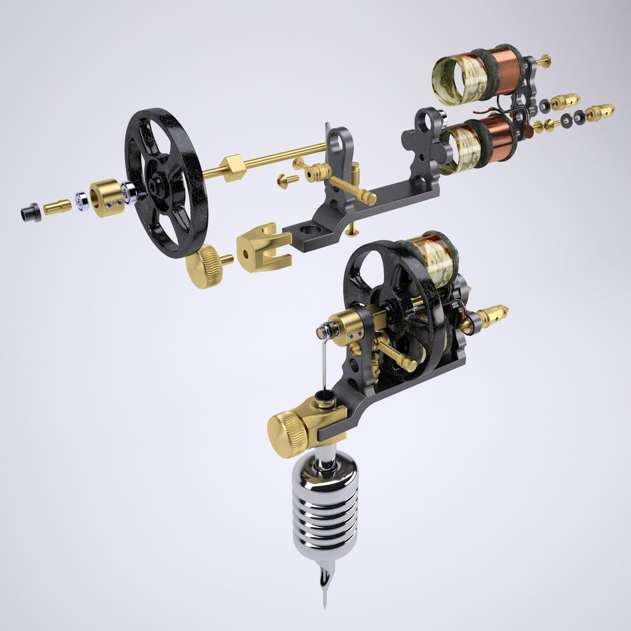 Vintage Tattoo Machine royalty-free 3d model - Preview no. 1