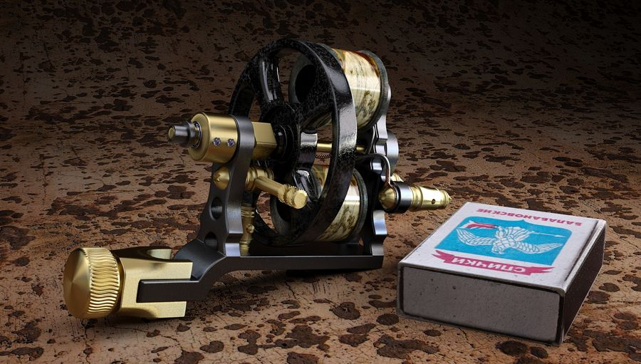 Vintage Tattoo Machine royalty-free 3d model - Preview no. 5