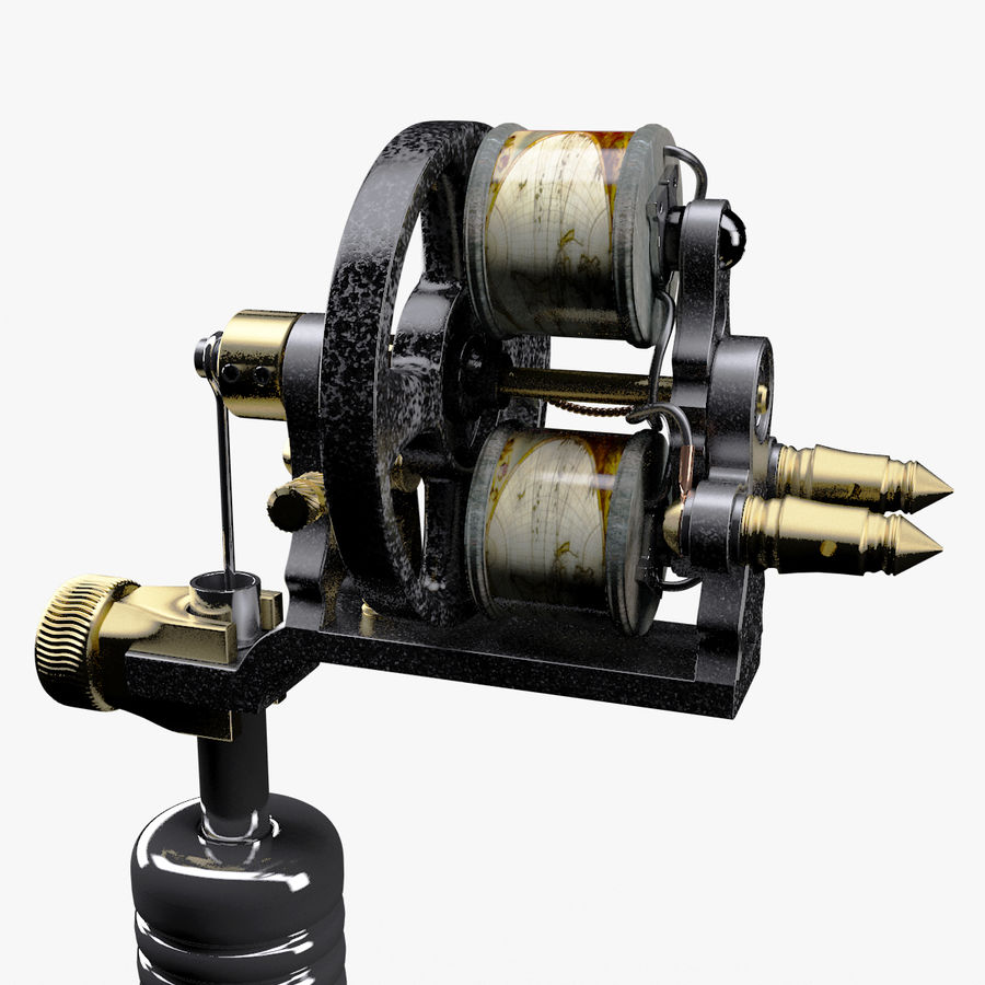 Vintage Tattoo Machine royalty-free 3d model - Preview no. 19