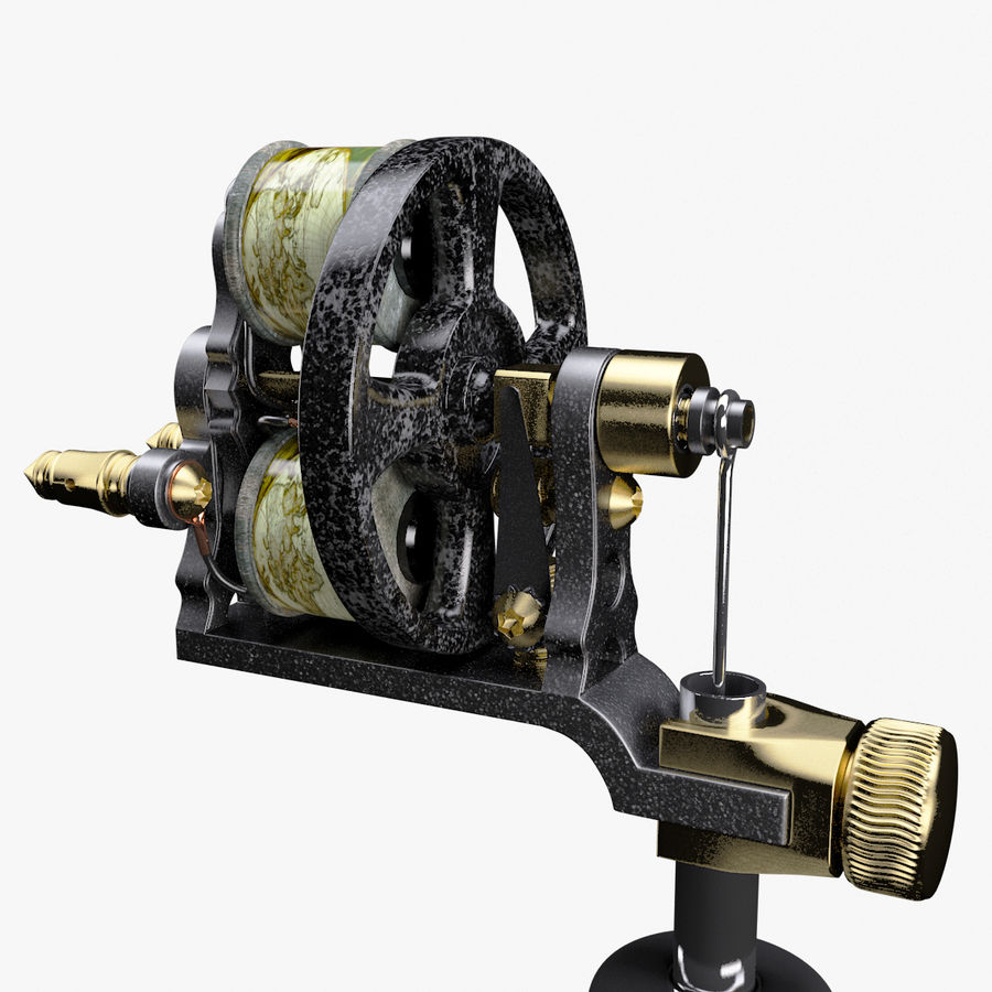Vintage Tattoo Machine royalty-free 3d model - Preview no. 10