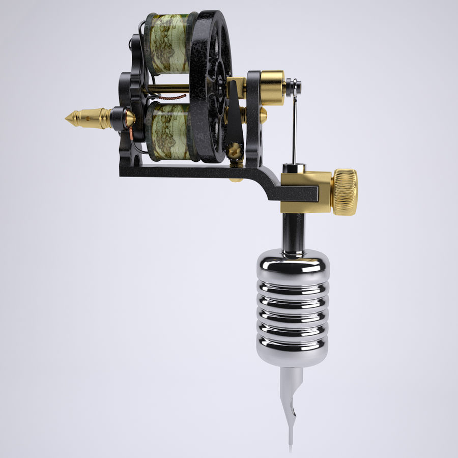Vintage Tattoo Machine royalty-free 3d model - Preview no. 3