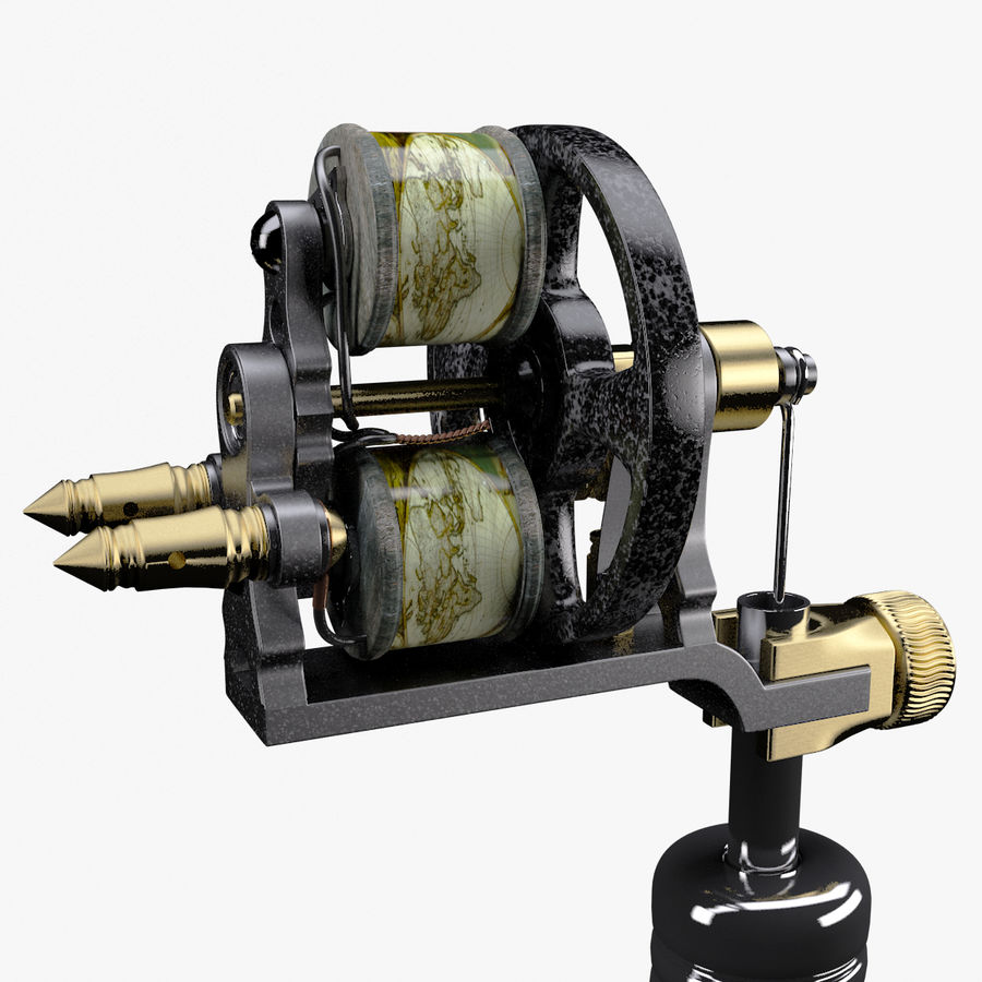Vintage Tattoo Machine royalty-free 3d model - Preview no. 13