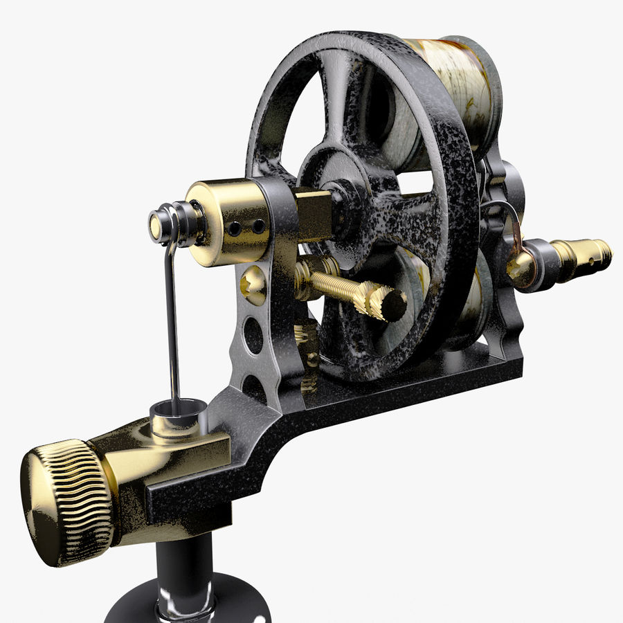 Vintage Tattoo Machine royalty-free 3d model - Preview no. 21