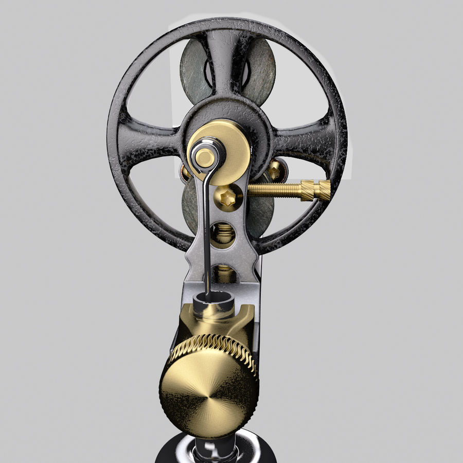 Vintage Tattoo Machine royalty-free 3d model - Preview no. 23