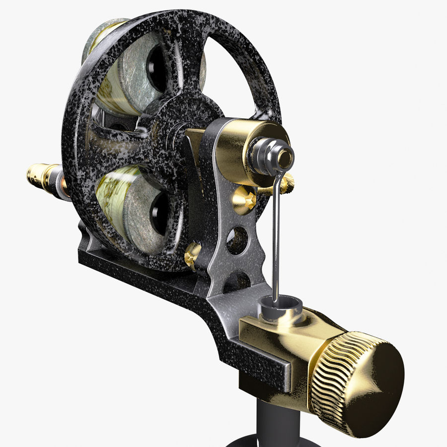 Vintage Tattoo Machine royalty-free 3d model - Preview no. 9