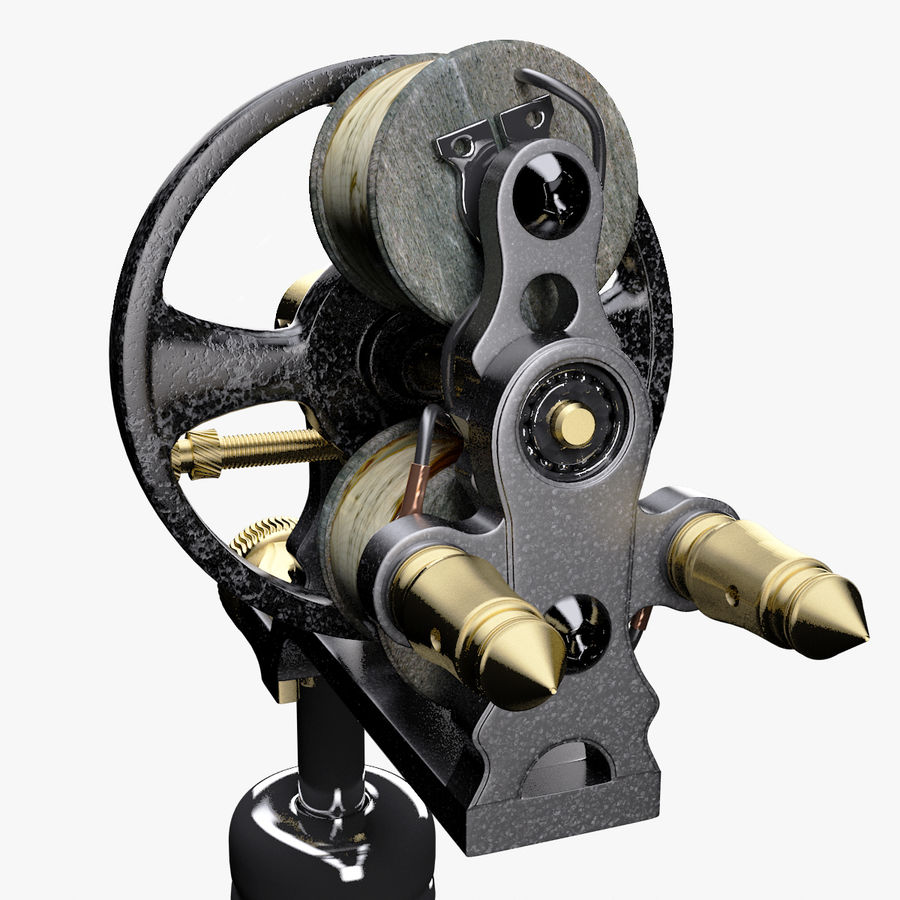 Vintage Tattoo Machine royalty-free 3d model - Preview no. 17