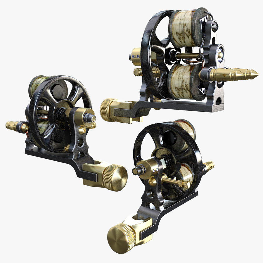 Vintage Tattoo Machine royalty-free 3d model - Preview no. 2