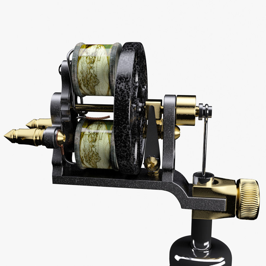 Vintage Tattoo Machine royalty-free 3d model - Preview no. 11