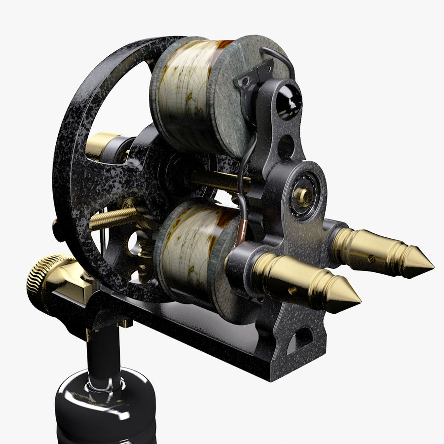 Vintage Tattoo Machine royalty-free 3d model - Preview no. 18
