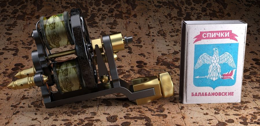 Vintage Tattoo Machine royalty-free 3d model - Preview no. 4