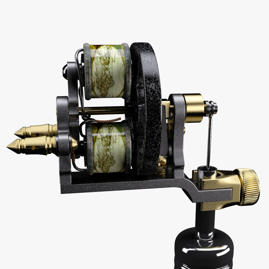 Vintage Tattoo Machine royalty-free 3d model - Preview no. 12