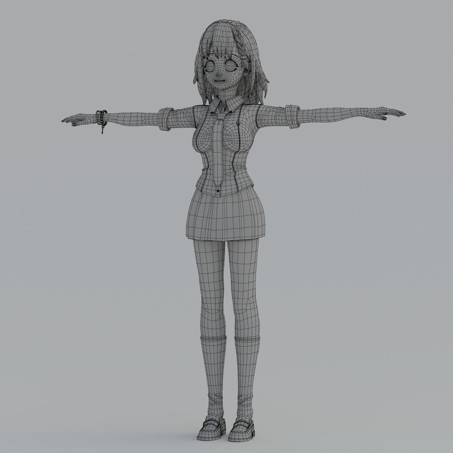japan meisje model royalty-free 3d model - Preview no. 9
