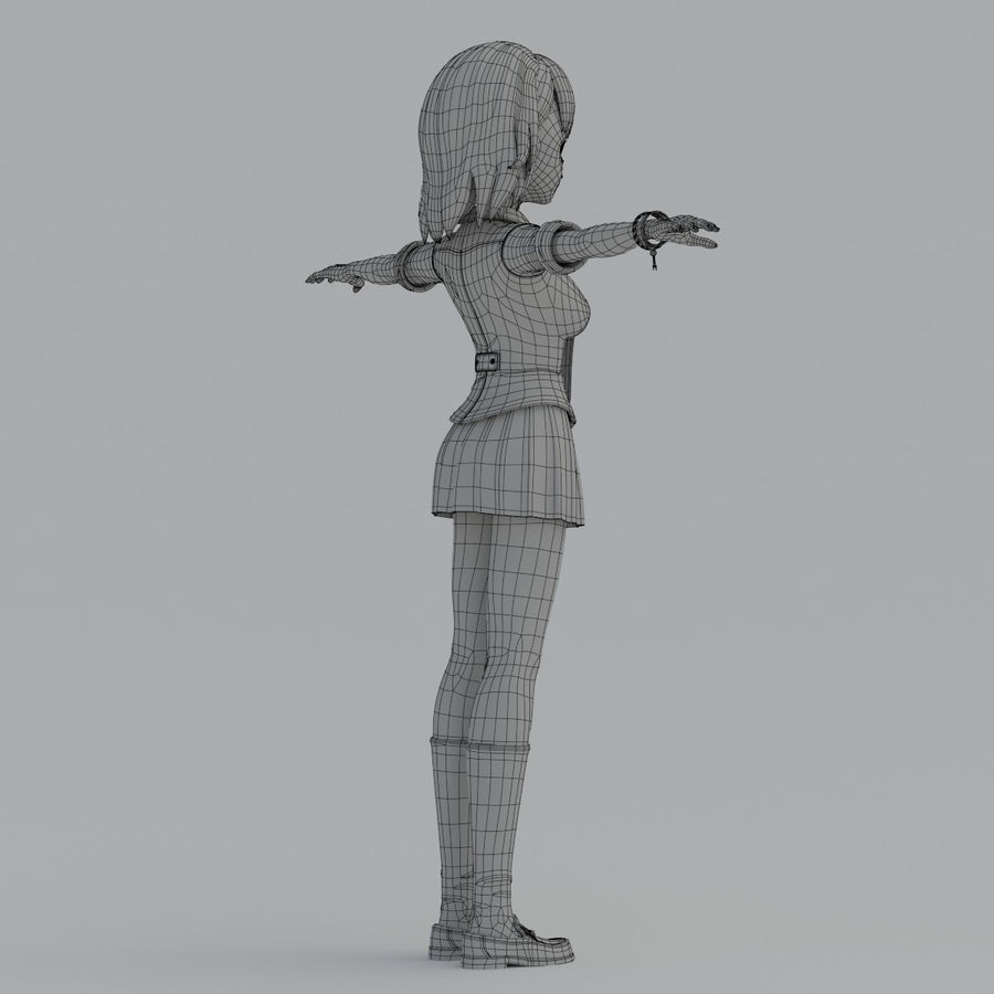 japan meisje model royalty-free 3d model - Preview no. 14