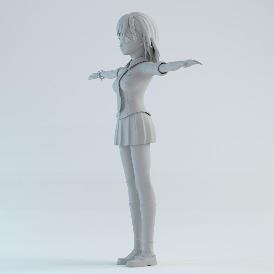 japan meisje model royalty-free 3d model - Preview no. 2