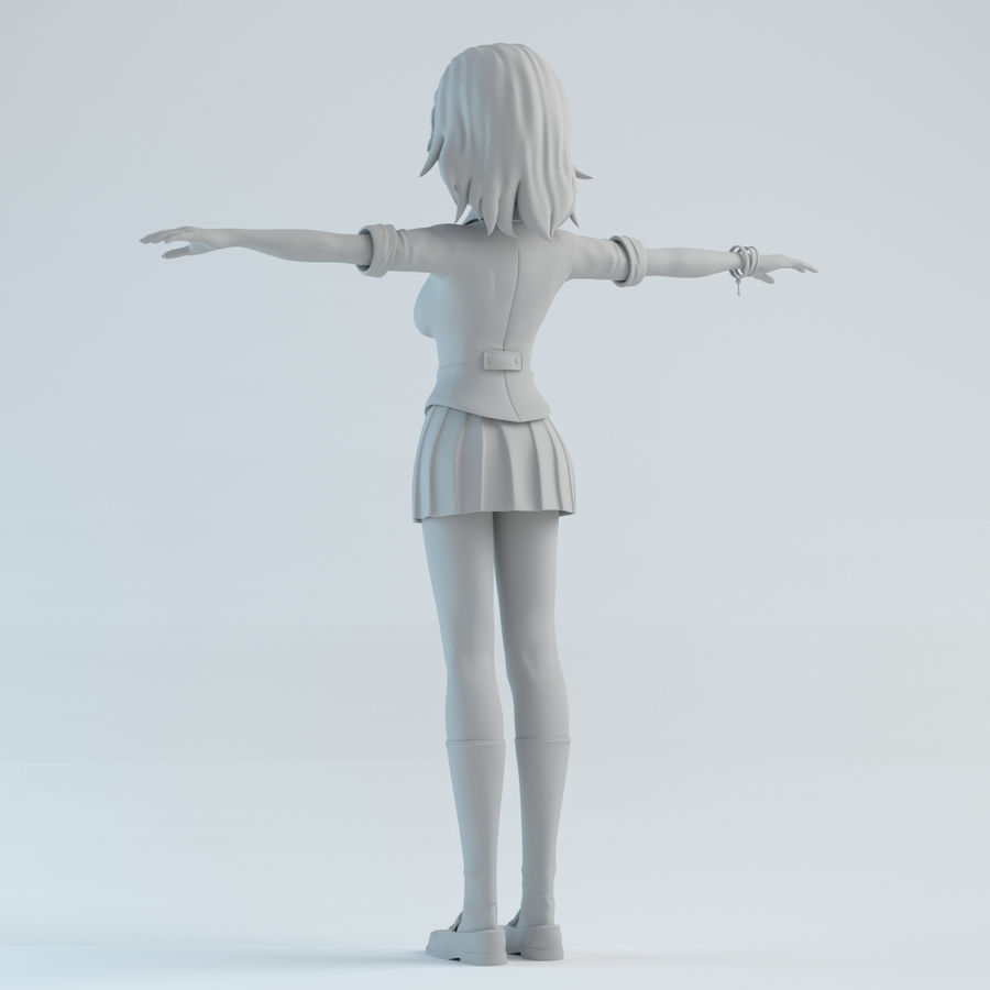 japan girl model royalty-free 3d model - Preview no. 4