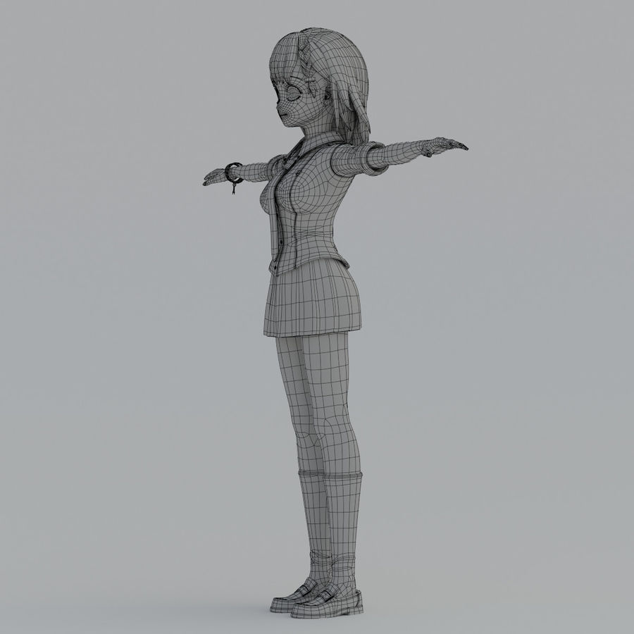 japan meisje model royalty-free 3d model - Preview no. 10