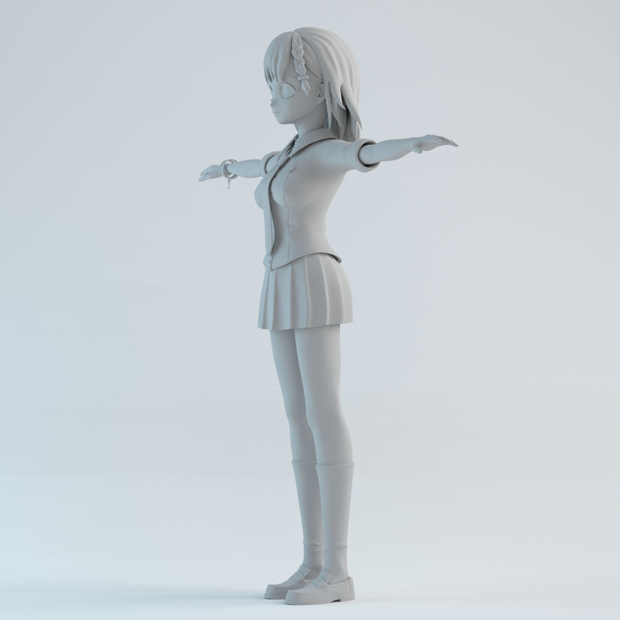 japan girl model royalty-free 3d model - Preview no. 2