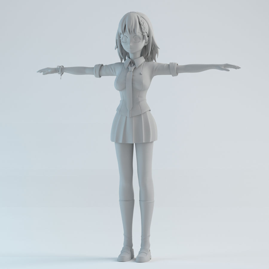 japan girl model royalty-free 3d model - Preview no. 1