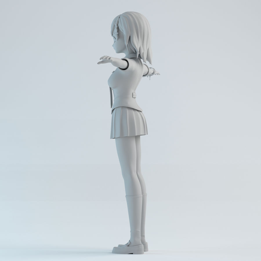 japan girl model royalty-free 3d model - Preview no. 3
