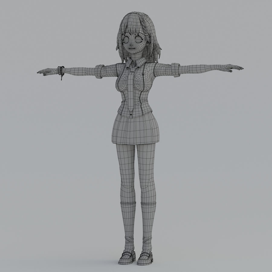 japan girl model royalty-free 3d model - Preview no. 9