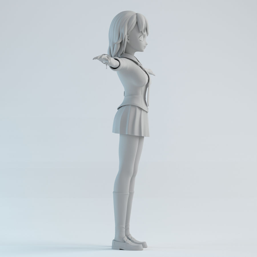 japan girl model royalty-free 3d model - Preview no. 7
