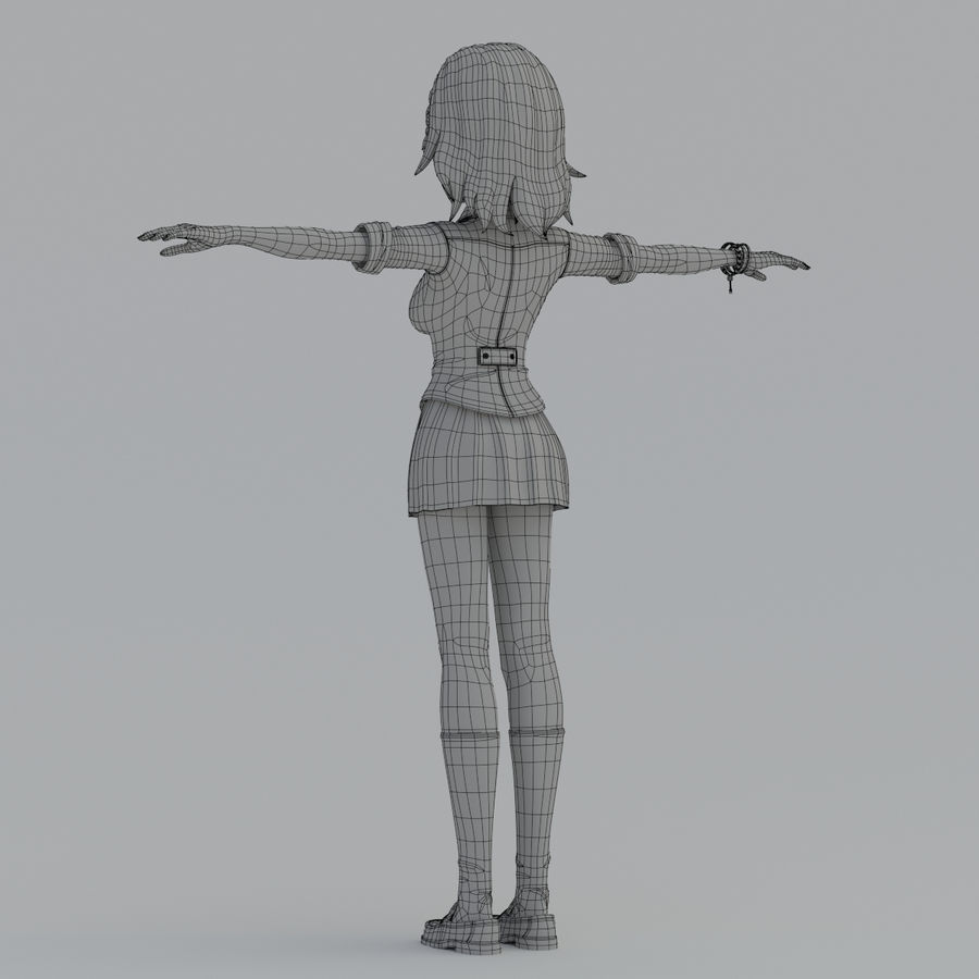 japan girl model royalty-free 3d model - Preview no. 12