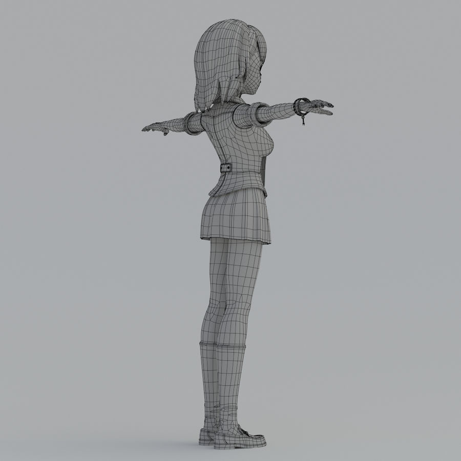 japan girl model royalty-free 3d model - Preview no. 14