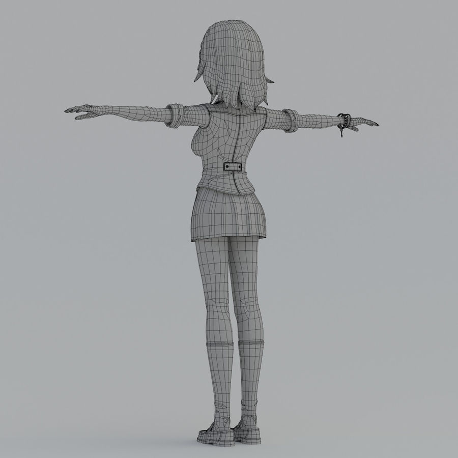 japan meisje model royalty-free 3d model - Preview no. 12
