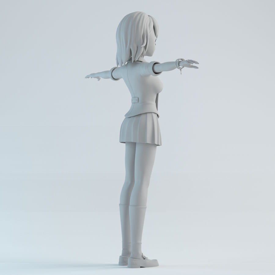 japan girl model royalty-free 3d model - Preview no. 6