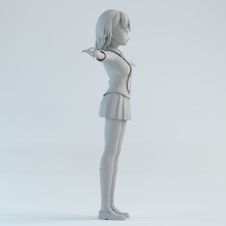 japan girl model royalty-free 3d model - Preview no. 7