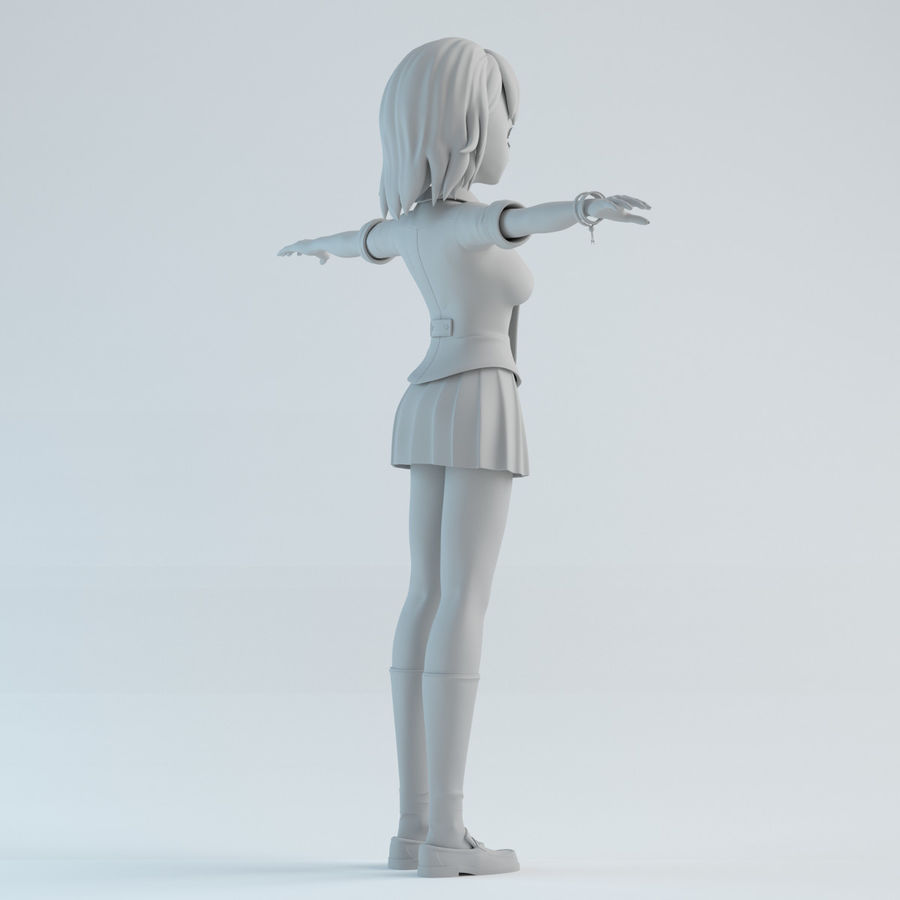 japan meisje model royalty-free 3d model - Preview no. 6