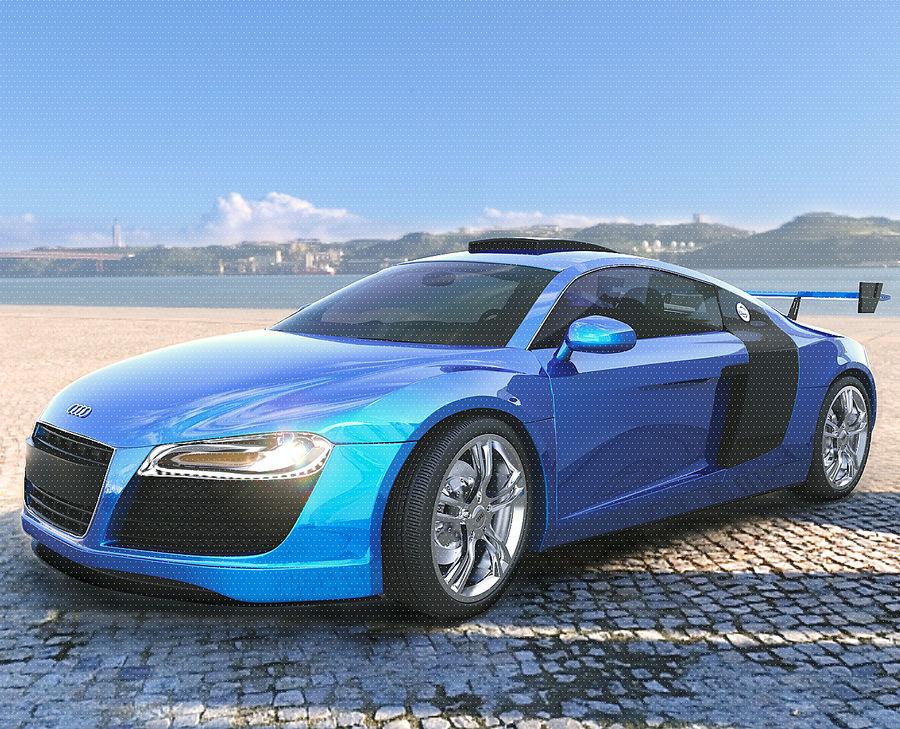 Auto Audi R8 royalty-free 3d model - Preview no. 2
