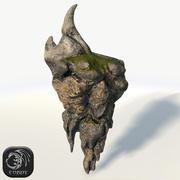 Selvaggia isola galleggiante con la roccia 3d model