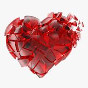 Złamane serce z czerwonego szkła 3d model