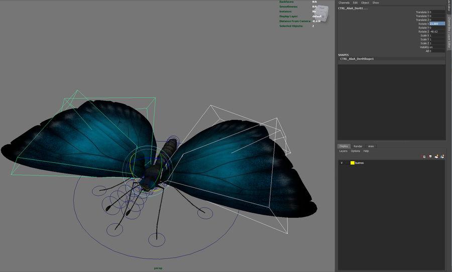 borboleta royalty-free 3d model - Preview no. 21