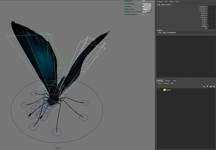borboleta royalty-free 3d model - Preview no. 20