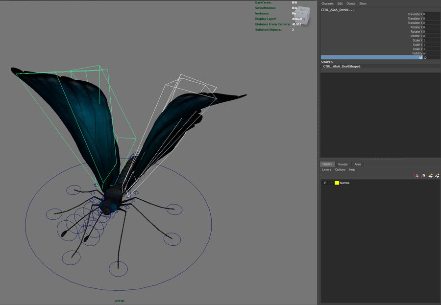 borboleta royalty-free 3d model - Preview no. 23