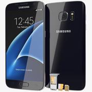 SD / SIM 카드 트레이가 장착 된 Samsung Galaxy S7 Black Onyx 3d model