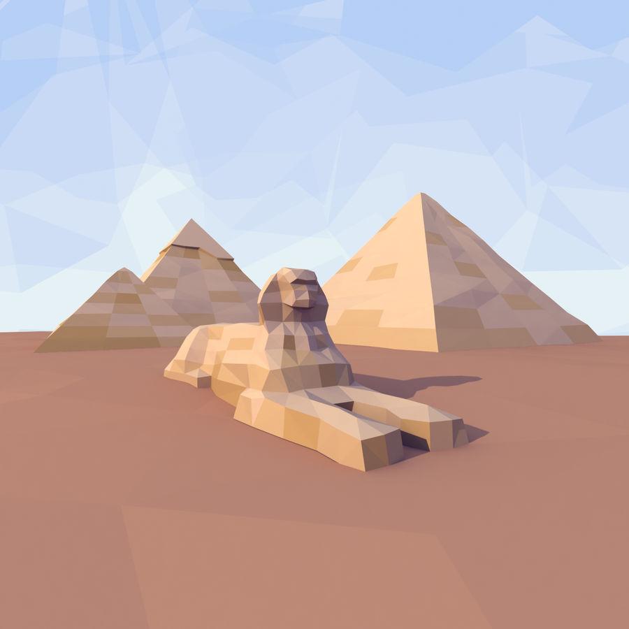 Низкополигональный сфинкс и пирамиды в Гизе royalty-free 3d model - Preview no. 1