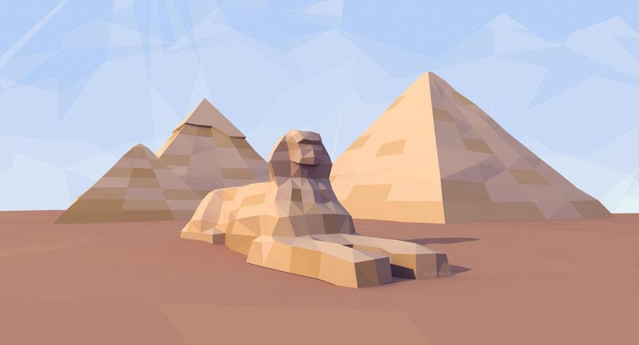 Низкополигональный сфинкс и пирамиды в Гизе royalty-free 3d model - Preview no. 2