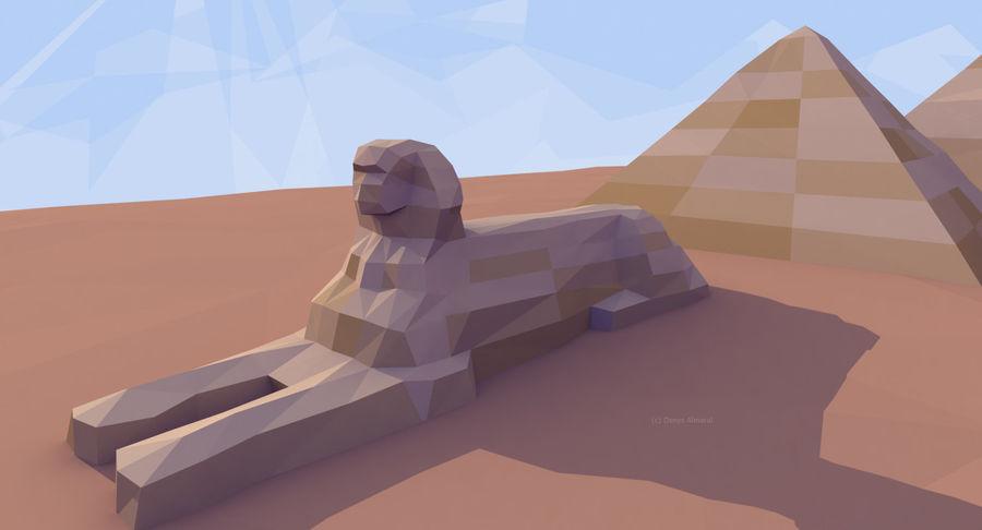 Низкополигональный сфинкс и пирамиды в Гизе royalty-free 3d model - Preview no. 3