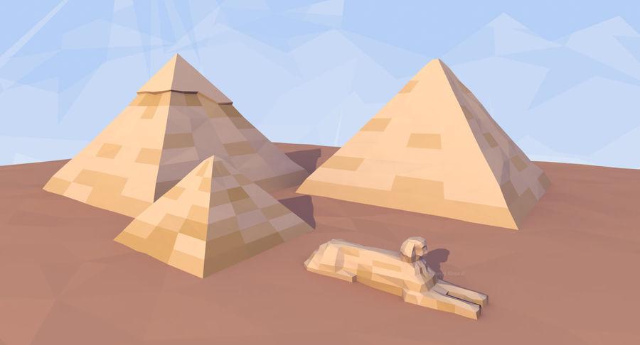 Низкополигональный сфинкс и пирамиды в Гизе royalty-free 3d model - Preview no. 4