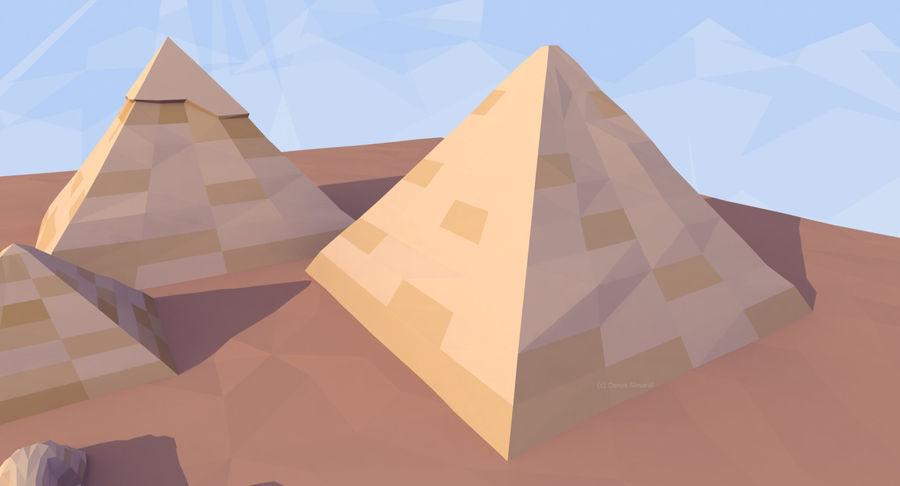 Низкополигональный сфинкс и пирамиды в Гизе royalty-free 3d model - Preview no. 6