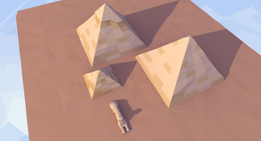 Низкополигональный сфинкс и пирамиды в Гизе royalty-free 3d model - Preview no. 5