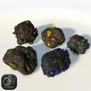 5 кусков руды с низким содержанием поли 3d model