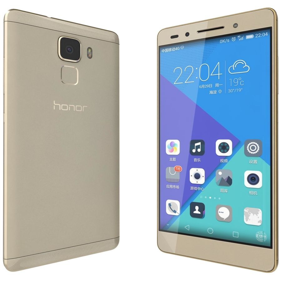 Huawei Honor 7 Gold royalty-free 3d model - Preview no. 4