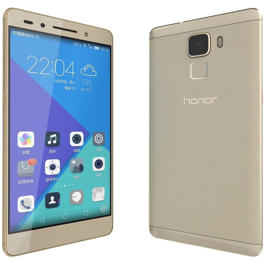 Huawei Honor 7 Gold royalty-free 3d model - Preview no. 3